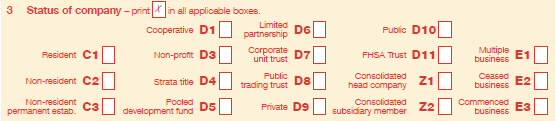 Item 3 Status of company label from Company tax return 2013