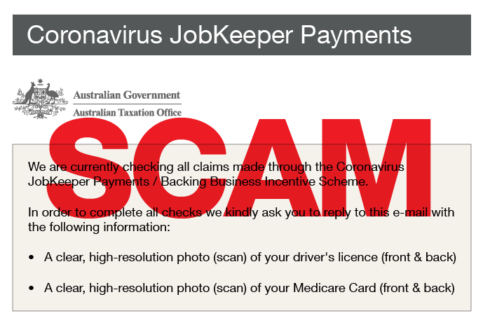 scam alert - coronavirus jobkeeper payments