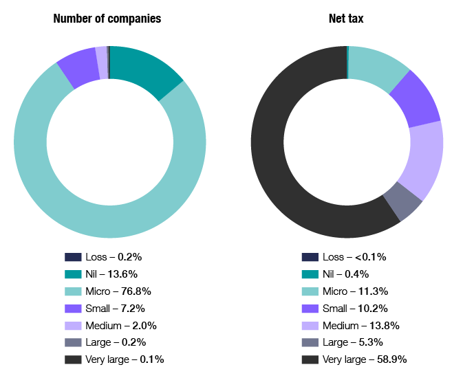 Chart 14 shows the distribution of companies and net tax, by company size, for the 2017–18 income year. The Snapshot table 5 link below will take you to the data behind this chart as well as similar data back to the 2009–10 income year.