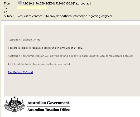 Scam email appearing to come from ATO.
