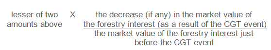 Lesser of two amounts above multiplied by the decrease (if any) in the market value of the forestry interest (as a result of the CGT event) divided by the market value of the forestry interest just before the CGT event.