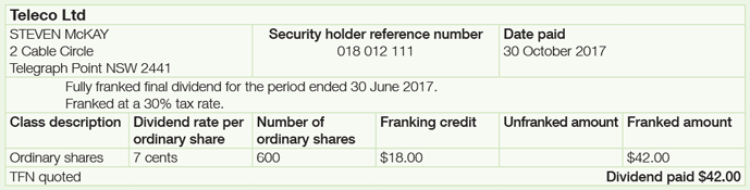 Steven's dividend statement from Telco Limited displaying his name, address and reference number. It also displays the date paid, number of shares as 600, dividend rate per ordinary share as 7 cents, franking credit as $18.00 and the dividend of $42.00 paid. The description on the statement reads fully franked final dividend for the period 30 June 2017. Franked at 30% tax rate.