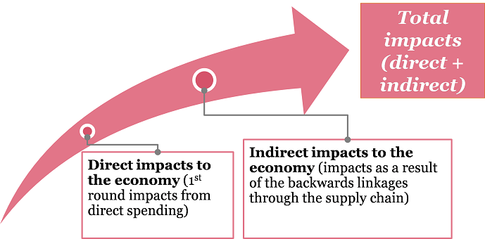 Diagram showing how direct and indirect impacts of potential illegal phoenix activity affect combine for the total impact estimated in the report. Direct impacts to the economy (first round impacts from direct spending) feed into indirect impacts to the economy (impacts as a result of the backwards linkages through the supply chain). Total impacts are a combination of direct and indirect impacts.