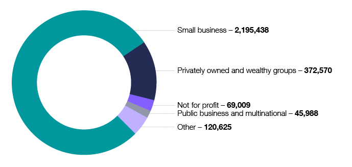 This graph shows the number of clients registered for GST in 2017–18, by client experience. The numbers are: small business 2,195,438; privately owned and wealthy groups 372,570; not for profit 69,009; public business and multinational 45,988; and other 120,625.