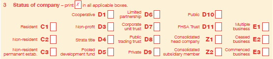 'Item 3 Status of company' labels from Company tax return 2012