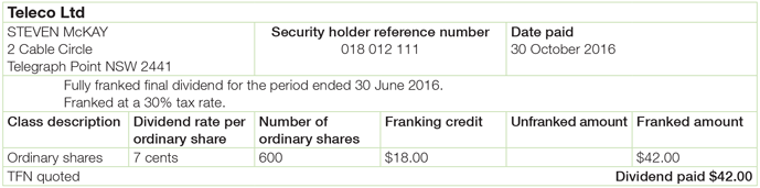 "Steven's dividend statement from Telco Limited displaying his name, address and reference number. It also displays the date paid, number of shares as 600, dividend rate per ordinary share as 7 cents, franking credit as $18.00 and the dividend of $42.00 paid. The description on the statement reads ""fully franked final dividend for the period 30 June 2016. Franked at 30% tax rate."""