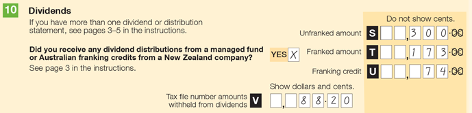 Example of item 10 in the application. Steven says yes to the question: Did you receive any dividend distributions from a managed fund or Australian franking credits from a New Zealand company? Item S Unfranked amount shows $300.00. Item T franked amount shows $173.00. Item U franking credit shows $74.00. Item V TFN amounts withheld from dividend shows $88.20.