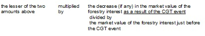 The lesser of the two amounts above multiplied by the decrease (if any) in the market value of the forestry interest as a result of the CGT event divided by the market value of the forestry interest just before the CGT event.