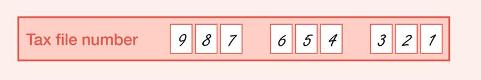 Example of the completed Tax file number field on the form shown as a nine-digit TFN, one number per box