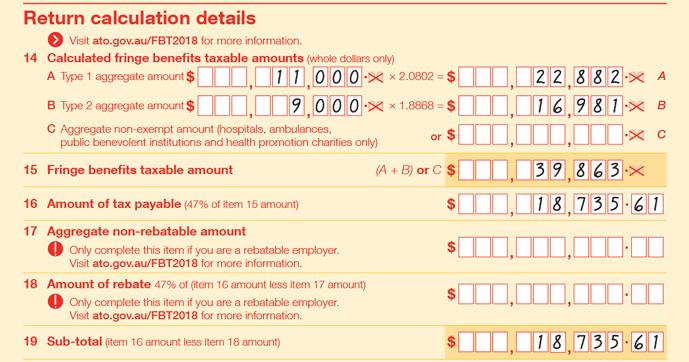 Completing your FBT return 2018 calculation details