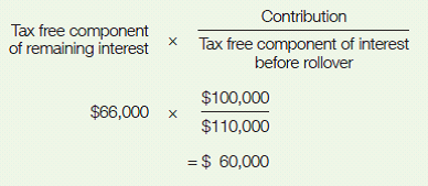 To work out the amount for a valid notice of intent to claim a deduction, multiply the tax-free component of remaining interest of 66,000 by the contribution amount of 100,000 divided by the tax-free component of interest before rollover of 110,000. The valid notice of intent amount is 60,000.